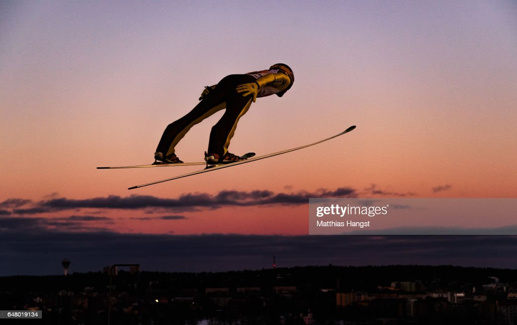 Noriaki Kasai of Japan competes during the Men's Team Ski Jumping HS130 at the FIS Nordic World Ski Championships on March 4, 2017 in Lahti, Finland.