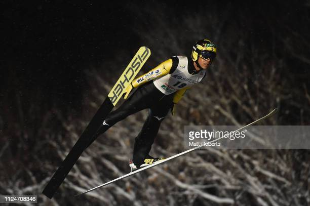 Noriaki Kasai of Japan competes during the qualification of the FIS Ski Jumping World Cup Sapporo at Okurayama Jump Stadium on January 25 2019 in...