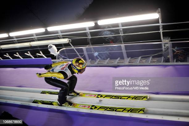 Noriaki Kasai of Japan competes during the Ski Jumping Men's HS134 Individual Qualification on November 16 2018 in Wisla Poland