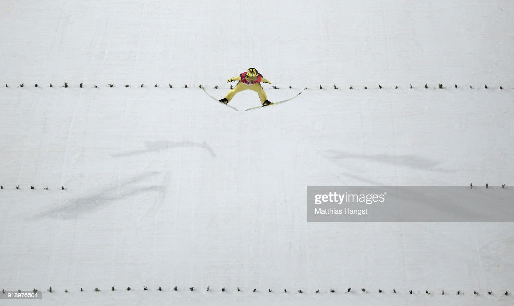 Noriaki Kasai of Japan competes during the Ski Jumping Men's Large Hill Individual Qualification at Alpensia Ski Jumping Center on February 16, 2018 in Pyeongchang-gun, South Korea.