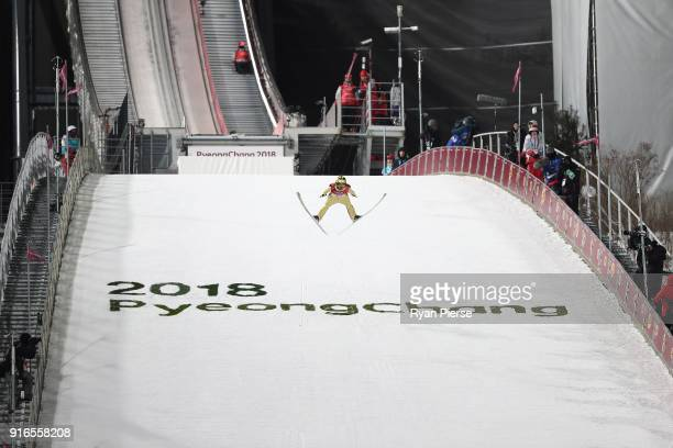 Noriaki Kasai of Japan competes during the Ski Jumping Men's Normal Hill Individual Final on day one of the PyeongChang 2018 Winter Olympic Games at...
