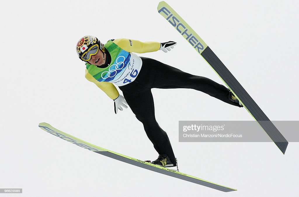 Noriaki Kasai of Japan competes during the Ski Jumping Normal Hill Individual Qualification Round at the Olympic Winter Games Vancouver 2010 ski jumping on February 12, 2010 in Whistler, Canada.