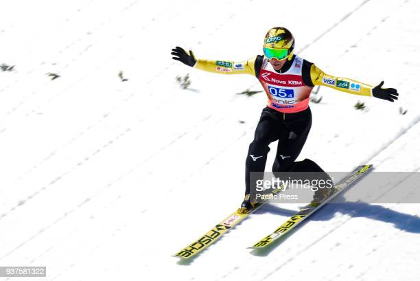 PLANICA SLOVENIA PLANICA GORENJSKA SLOVENIA Noriaki Kasai of Japan competes during the team competition at Planica FIS Ski Jumping World Cup finals