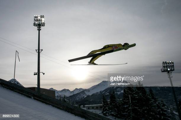 Noriaki Kasai of Japan competes during the training for the Four Hills Tournament on December 29 2017 in Oberstdorf Germany