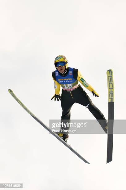 Noriaki Kasai of Japan competes during training for FIS Nordic World Cup Four Hills Tournament ski jumping event at Bergisl Schanze on January 3 2019...