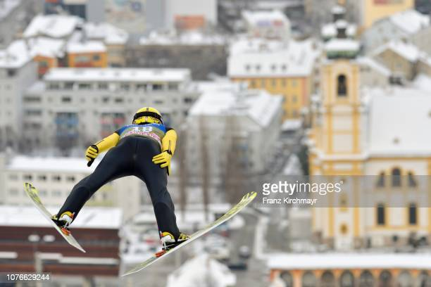 Noriaki Kasai of Japan competes during training for the 67th FIS Nordic World Cup Four Hills Tournament ski jumping event at Bergisl Schanze on...