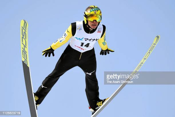 Noriaki Kasai of Japan competes in the first jump on day two of the FIS Ski Jumping World Cup Sapporo at Okurayama Jump Stadium on January 27 2019 in...