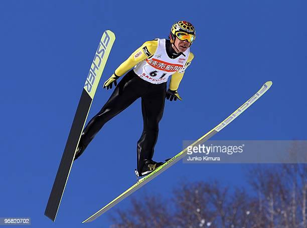 Noriaki Kasai of Japan competes in the FIS Ski Jumping World Cup Sapporo 2010 at Okurayama Jump Stadium on January 17 2010 in Sapporo Japan