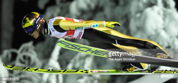 Noriaki Kasai of Japan competes in the FIS Ski Jumping World Cup Men's Team during day two of the Ruka Nordic on November 25 2017 in Ruka Finland