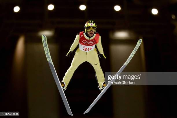 Noriaki Kasai of Japan competes in the second jump during the Ski Jumping Men's Normal Hill Individual Final on day one of the PyeongChang 2018...