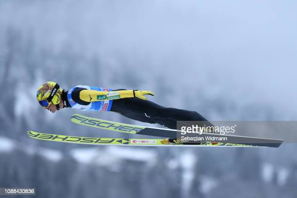Noriaki Kasai of Japan competes on day 3 of the 67th FIS Nordic World Cup Four Hills Tournament ski jumping event on December 31 2018 in...