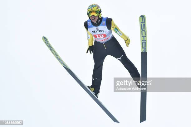 Noriaki Kasai of Japan competes on day 4 of the 67th FIS Nordic World Cup Four Hills Tournament ski jumping event on January 01 2019 in...