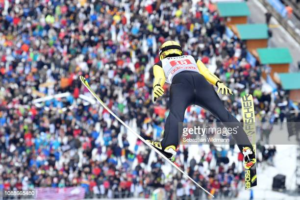 Noriaki Kasai of Japan flies during the practice jump on day 4 of the 67th FIS Nordic World Cup Four Hills Tournament ski jumping event on January 01...