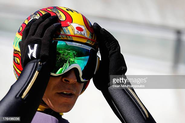 Noriaki Kasai of Japan gets ready to compete in the FIS Ski Jumping Grand Prix Mens Training Session on August 14 2013 in Courchevel France