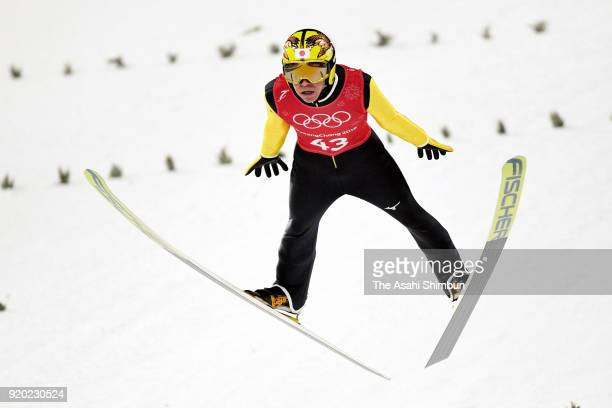 Noriaki Kasai of Japan in action during a training session ahead of the Ski Jumping Team competition on day nine of the PyeongChang 2018 Winter...