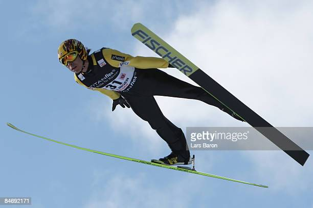 Noriaki Kasai of Japan in action during day three of the FIS Ski Jumping World Cup at the Muehlenkopfschanze on February 8, 2009 in Willingen,...