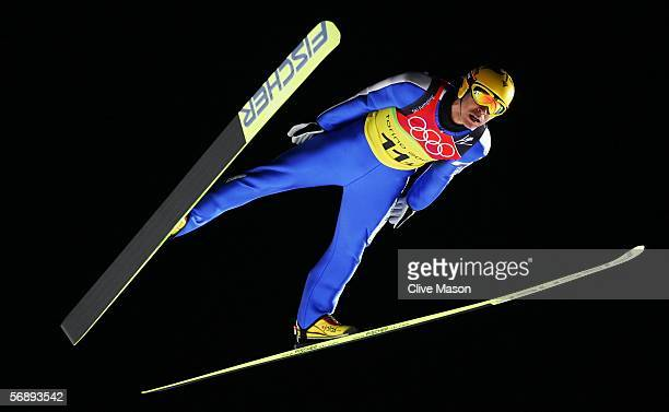 Noriaki Kasai of Japan in action during in the Team Event of the Large Hill Ski Jumping competition on Day 10 of the 2006 Turin Winter Olympic Games...