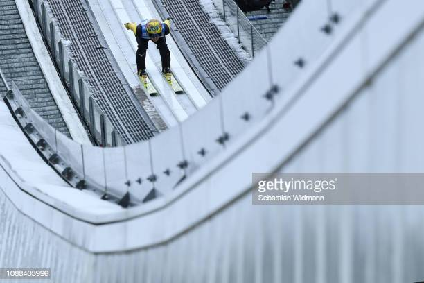 Noriaki Kasai of Japan in action on day 3 of the 67th FIS Nordic World Cup Four Hills Tournament ski jumping event on December 31 2018 in...