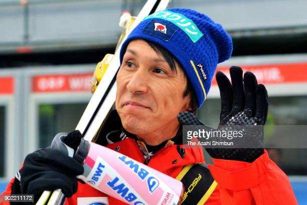 Noriaki Kasai of Japan is seen prior to the FIS Nordic World Cup Four Hills Tournament on January 6 2018 in Bischofshofen Austria