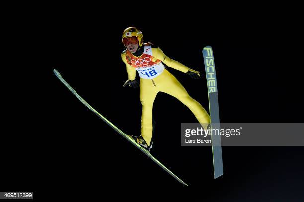 Noriaki Kasai of Japan jumps during the Men's Large Hill Individual 1st Round on day 8 of the Sochi 2014 Winter Olympics at the RusSki Gorki Ski...