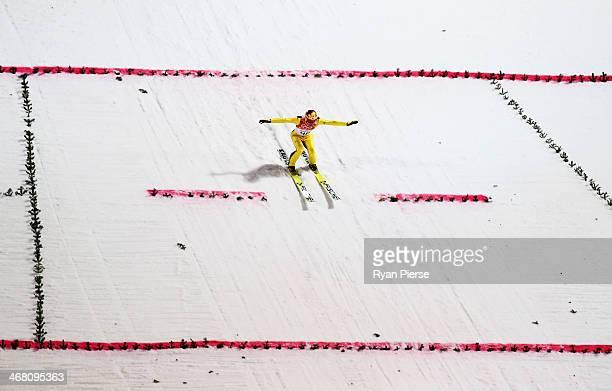 Noriaki Kasai of Japan jumps during the Men's Normal Hill Individual Ski Jumping Final on day 2 of the Sochi 2014 Winter Olympics at RusSki Gorki...