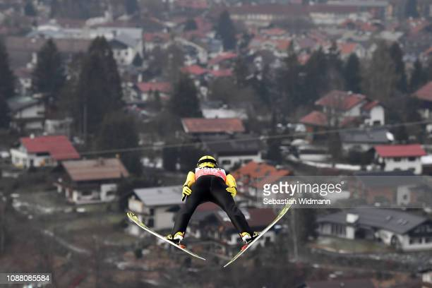 Noriaki Kasai of Japan jumps during the practice round for the Four Hills Tournament on December 29 2018 in Oberstdorf Germany