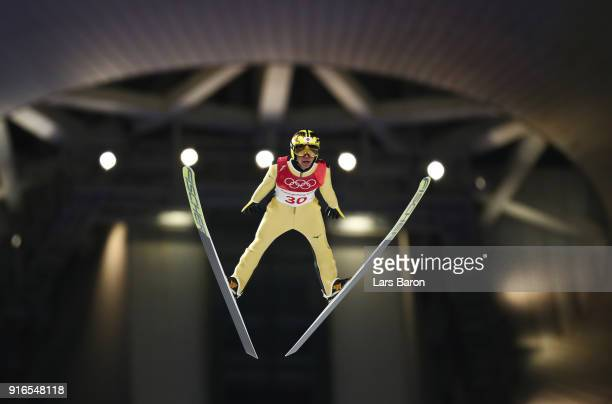 Noriaki Kasai of Japan jumps during the Ski Jumping Men's Normal Hill Individual Final on day one of the PyeongChang 2018 Winter Olympic Games at...
