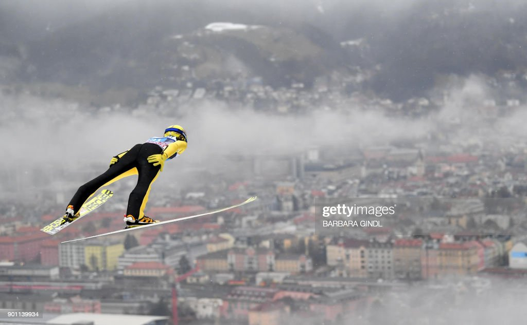 Noriaki Kasai of Japan jumps during the ski jumping training round of the third stage at the 66th Four Hills Tournament in Innsbruck, Austria on January 4, 2018. / AFP PHOTO / APA / BARBARA GINDL / Austria OUT