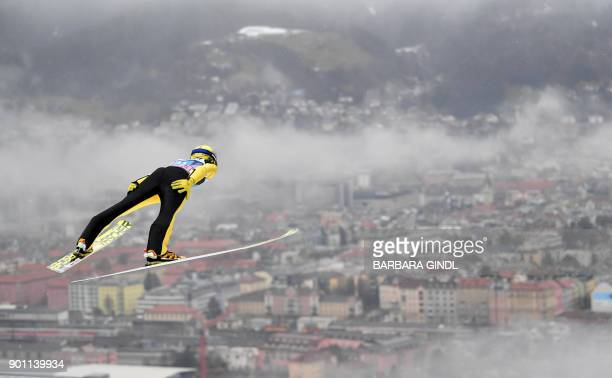 Noriaki Kasai of Japan jumps during the ski jumping training round of the third stage at the 66th Four Hills Tournament in Innsbruck Austria on...