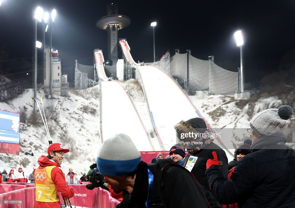Noriaki Kasai of Japan leaves the mixed zone after the Ski Jumping - Men's Team Large Hill on day 10 of the PyeongChang 2018 Winter Olympic Games at Alpensia Ski Jumping Center on February 19, 2018 in Pyeongchang-gun, South Korea.