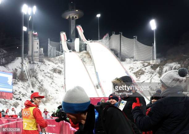 Noriaki Kasai of Japan leaves the mixed zone after the Ski Jumping Men's Team Large Hill on day 10 of the PyeongChang 2018 Winter Olympic Games at...