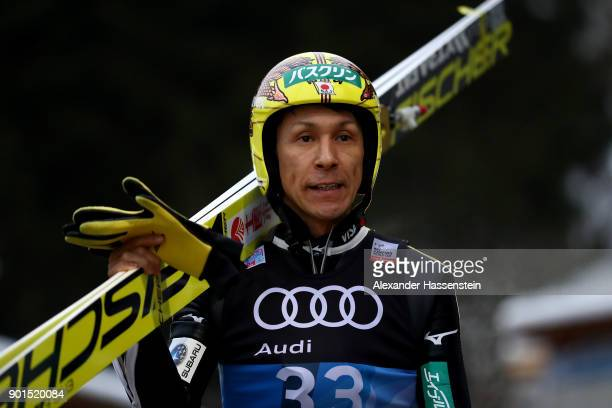Noriaki Kasai of Japan looks on before his practice jump of the FIS Nordic World Cup Four Hills Tournament on January 5 2018 in Bischofshofen Austria