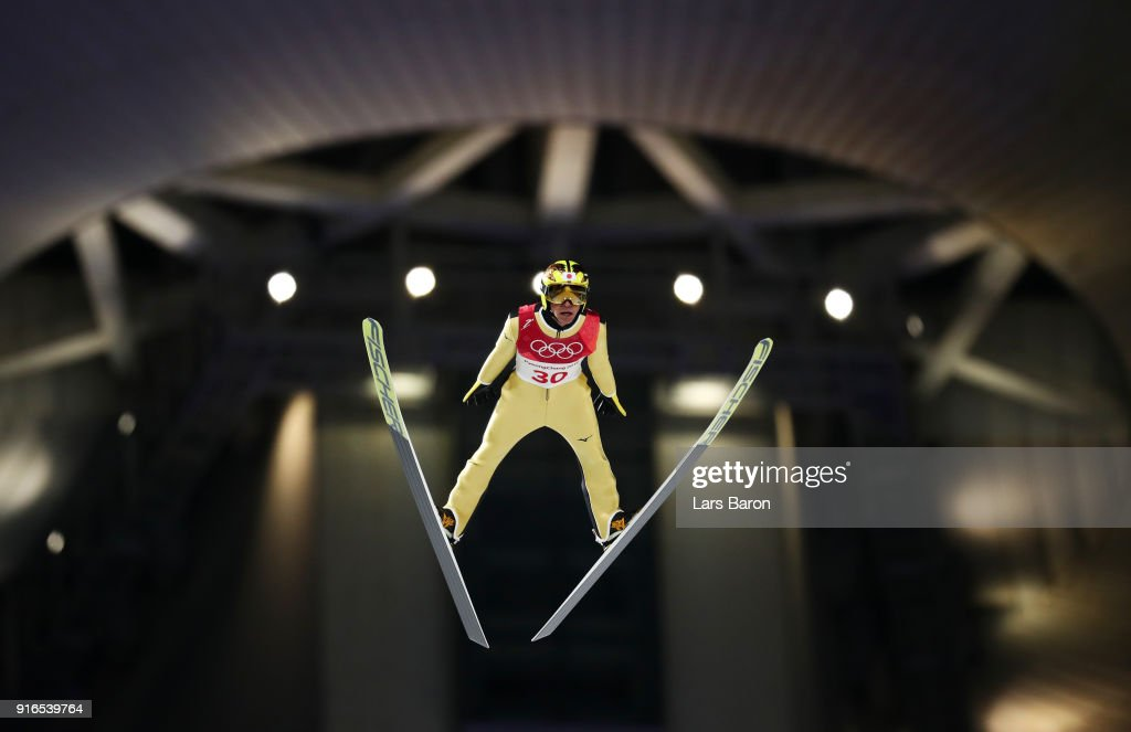 Noriaki Kasai of Japan makes a jump during the Ski Jumping - Men's Normal Hill Individual Final on day one of the PyeongChang 2018 Winter Olympic Games at Alpensia Ski Jumping Center on February 10, 2018 in Pyeongchang-gun, South Korea.