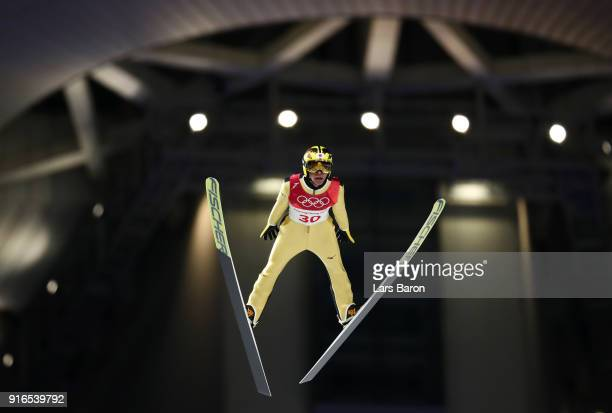 Noriaki Kasai of Japan makes a jump during the Ski Jumping Men's Normal Hill Individual Final on day one of the PyeongChang 2018 Winter Olympic Games...