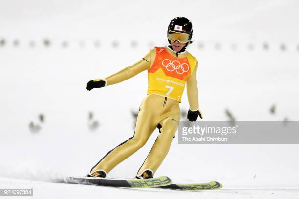 Noriaki Kasai of Japan reacts after competing in the second jump during the Ski Jumping Men's Team Large Hill on day ten of the PyeongChang 2018...