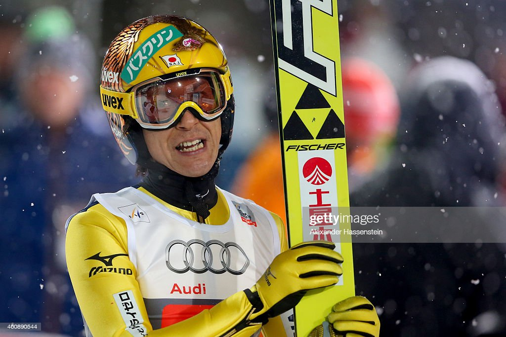 Noriaki Kasai of Japan reacts after his first round jump on day 2 of the Four Hills Tournament Ski Jumping event at Schattenberg-Schanze Erdinger Arena on December 29, 2014 in Oberstdorf, Germany.