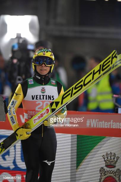 Noriaki Kasai of Japan reacts after his jump during the qualification round for the Four Hills Tournament on December 29 2018 in Oberstdorf Germany