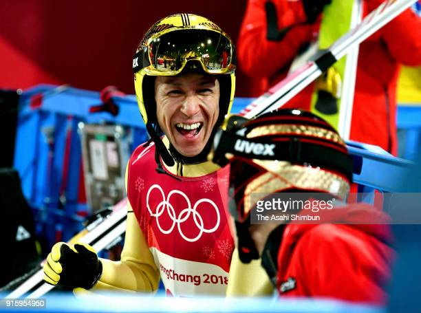 Noriaki Kasai of Japan reacts after the Men's Normal Hill Individual trial round at Alpensia Ski Jumping Centre on February 8, 2018 in...