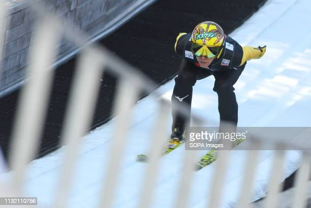Noriaki Kasai of Japan seen in action during the trial round of the FIS Ski Jumping World Cup Flying Hill Individual competition in Planica