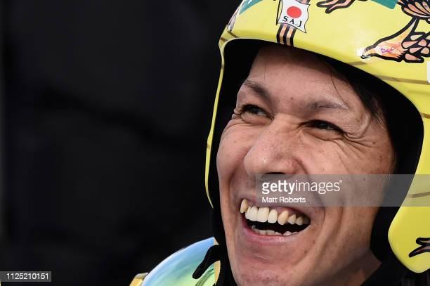 Noriaki Kasai of Japan smiles during day two of the FIS Ski Jumping World Cup Sapporo at Okurayama Jump Stadium on January 27 2019 in Sapporo...