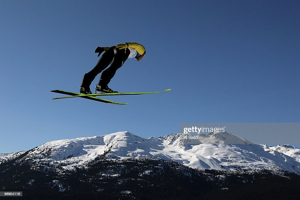 Noriaki Kasai of Japan soars on the Large Hill on day 9 of the 2010 Vancouver Winter Olympics at Ski Jumping Stadium on February 20, 2010 in Whistler, Canada.