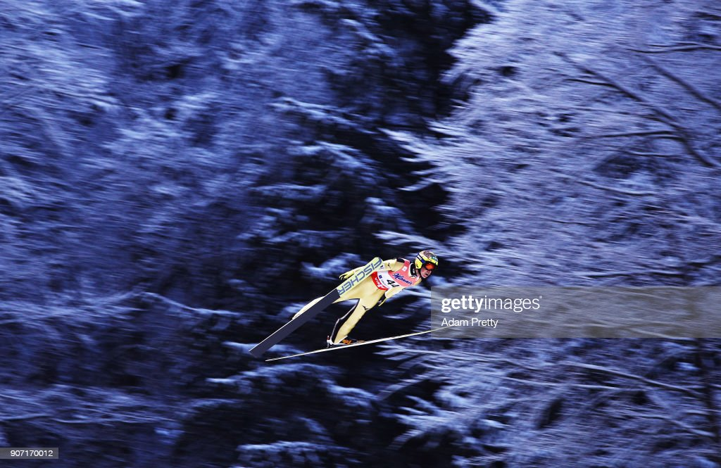 Noriaki Kasai of Japan soars through the air during his first competition jump of the Ski Flying World Championships on January 19, 2018 in Oberstdorf, Germany.