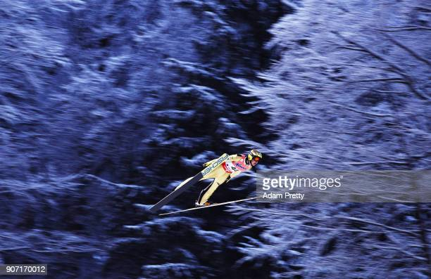 Noriaki Kasai of Japan soars through the air during his first competition jump of the Ski Flying World Championships on January 19 2018 in Oberstdorf...