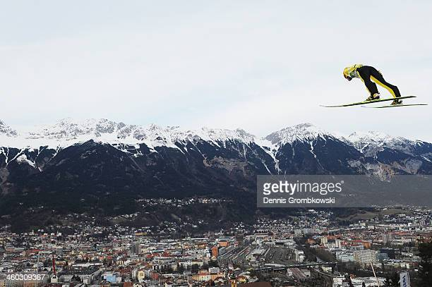 Noriaki Kasai of Japan soars through the air during his second training jump on day 1 of the Four Hills Tournament event at Bergisel on January 3...