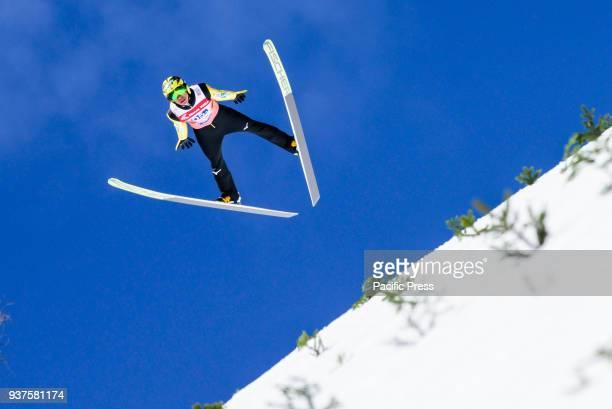 PLANICA SLOVENIA PLANICA GORENJSKA SLOVENIA Noriaki Kasai of Japan soars through the air during the team competition at Planica FIS Ski Jumping World...