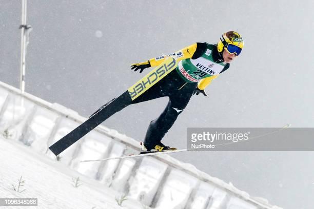 Noriaki Kasai participates in FIS Ski Jumping World Cup Large Hill Individual training at Lahti Ski Games in Lahti Finland on 8 February 2019