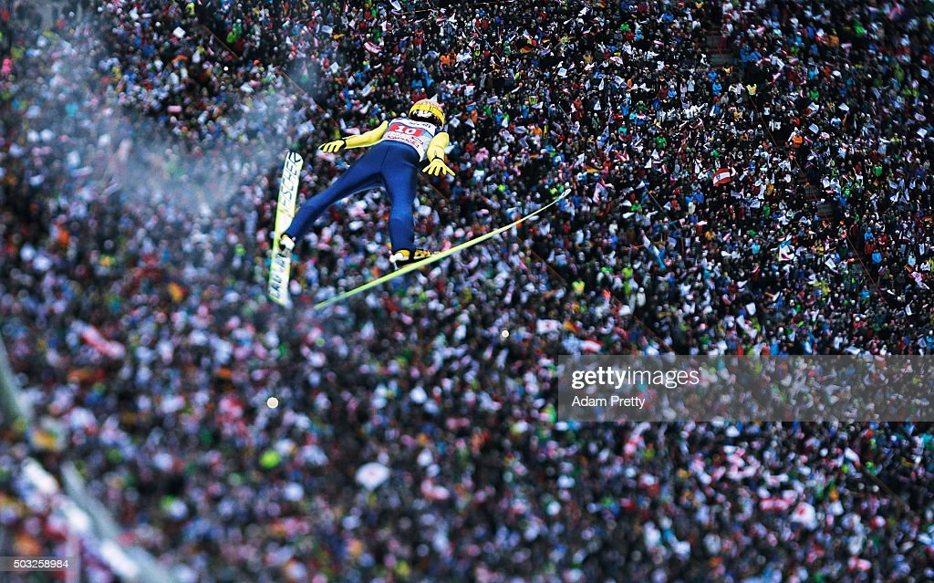 Noriaki Kasai soars through the air and over the grandstand during his final competition jump on day 2 of the Innsbruck 64th Four Hills Tournament on January 3, 2016 in Innsbruck, Austria.