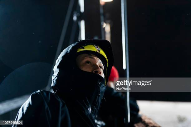 Noriaki Kasai watching the FIS Ski Jumping World Cup Large Hill Individual Competition at the Lahti Ski Games in Lahti Finland on 10 February 2019