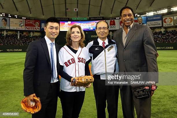Norichika Aoki of the Kansas City Royals, U.S. Ambassador to Japan Caroline Kennedy , Yomiuri Giants legend Sadaharau Oh and Hall of Famer Dave...