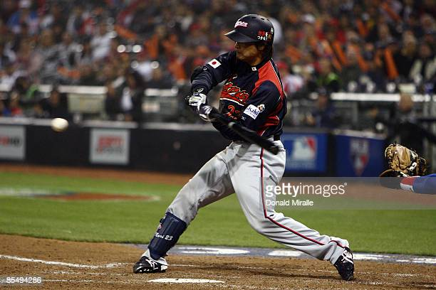 Norichika Aoki of Japan swings at a pitch against Cuba during the 2009 World Baseball Classic Round 2 Pool 1 Game 5 on March 18 2009 at Petco Park in...